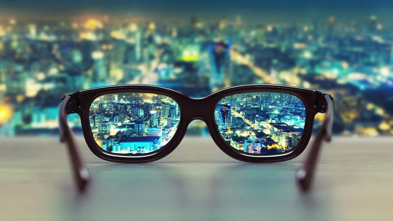Glasses-over-city
